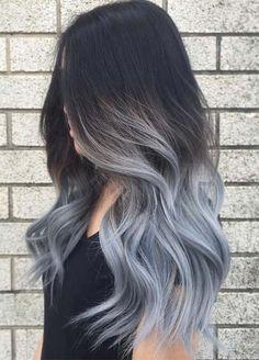 Tinte cabello largo moreno ceniza azulado balayage