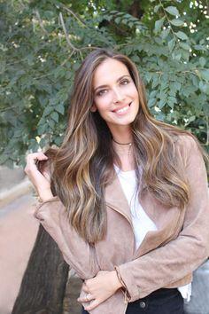 Tinte cabello largo castaño balayage