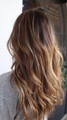 Tinte cabello largo castaño reflejos cobrizos