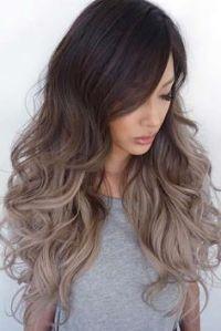 Tinte cabello largo tono castaño ceniza