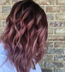Tinte cabello largo tono castaño caobas