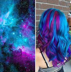 Tinte cabello largo tono azul morado