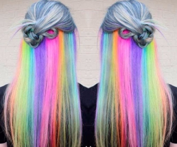 Tinte cabello largo tono arcoiris