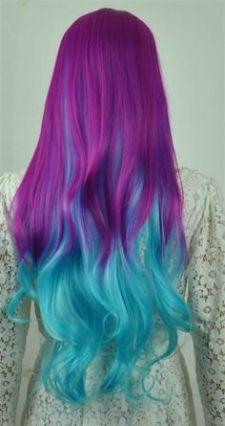 Tinte cabello largo tono azul,verde y violeta