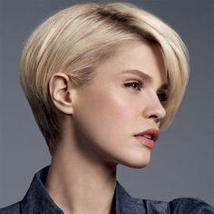 Peinado pelo corto blonde tierra capa homogénea en contorno flequillo tupido lateral
