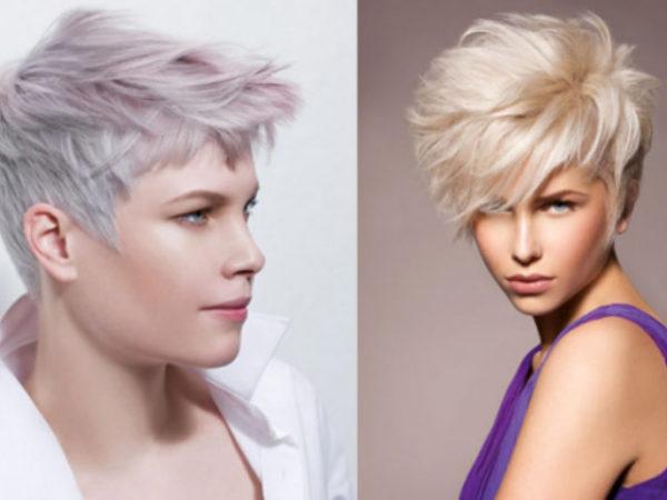 Peinado pelo corto purpura rubio degradado suelto recto flequillo medio visera