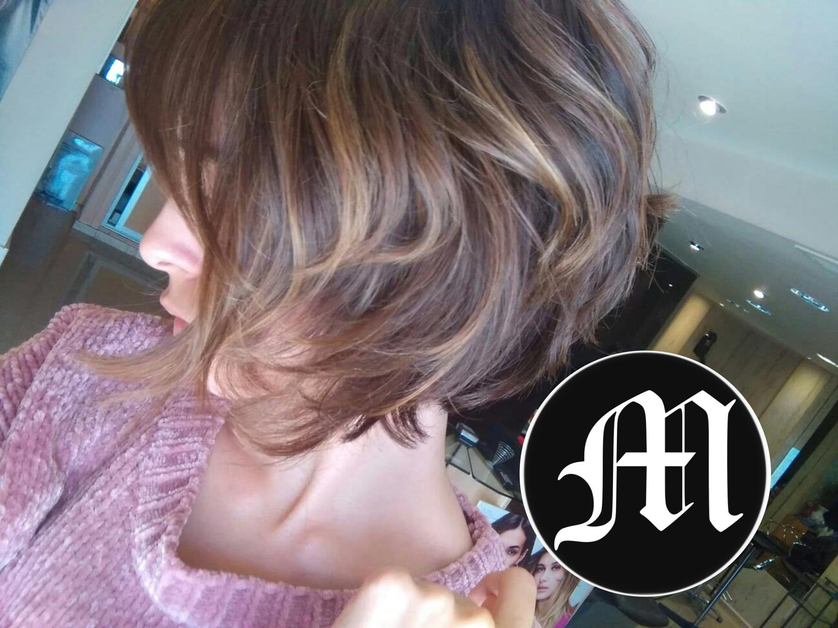 Corte de pelo con reflejos bronce
