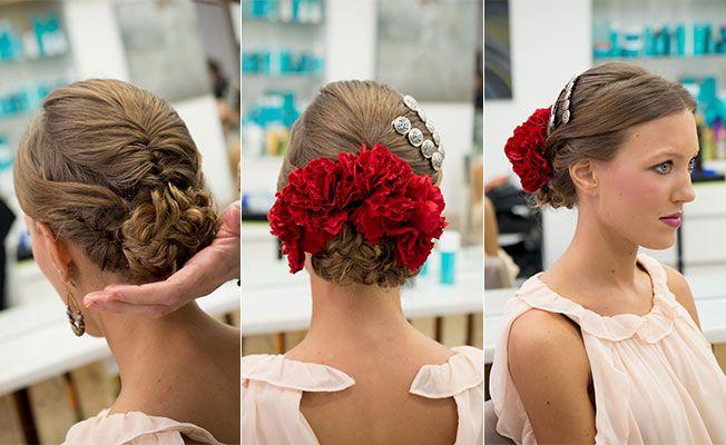 Peinados recogidos con flores para fiesta