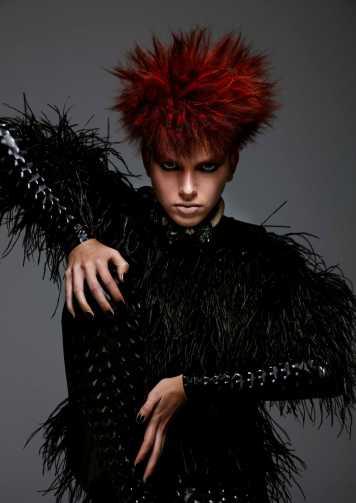 Corte de pelo y peinado Rojo fibra