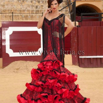 Feria y Fiestas Barriada de los Angeles Alcolea Flamenca Rojo y Negro flecos