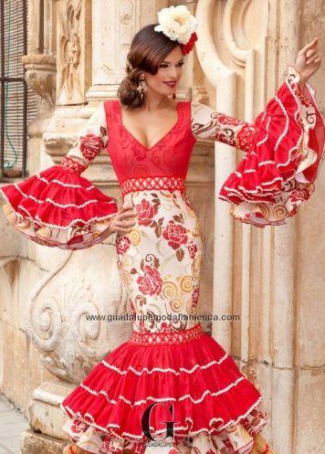 Feria y Fiestas Barriada de los Angeles Alcolea Flamenca Rojo