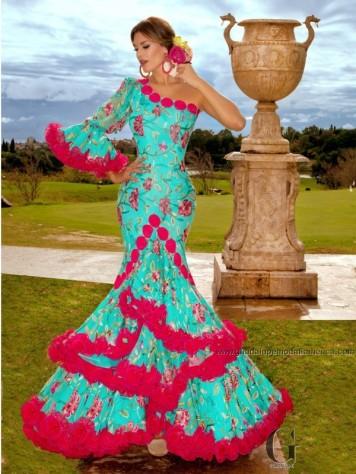 Feria y Fiestas Barriada de los Angeles Alcolea Flamenca Turquesa y Fucsia