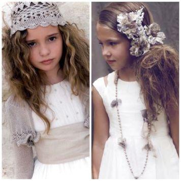 Peinados para niña de comunion pelo largo Semirecogido