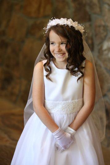 Adornos para peinados de niña Primera Comunion Corona Blanca