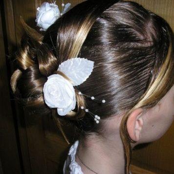 Adornos para peinados de niña Primera Comunion GuirnalAdornos para peinados de niña Primera Comunion Rosas con Mechas