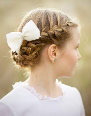 Adornos para peinados de niña Primera Comunion Pelo Recogido Lazo zapatero
