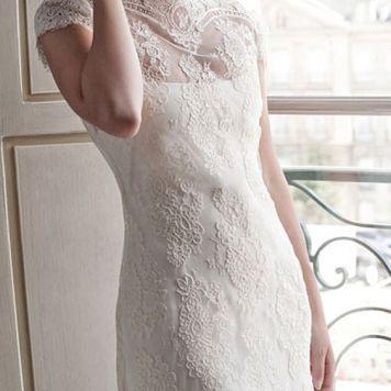 Peinados con Vestidos de novia cortos Recogido bajo informal