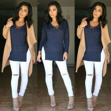 Moda joven Mujer Pantalones Vaqueros Blancos