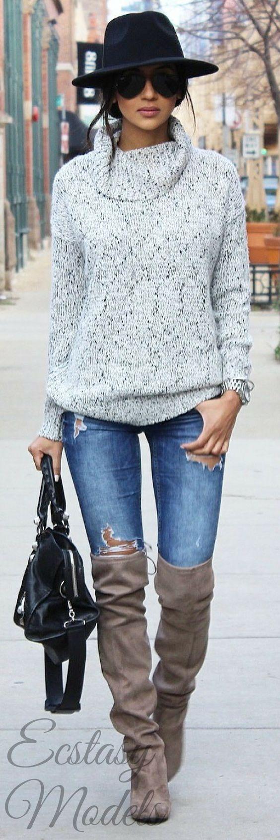 Moda joven Mujer Pantalones Vaqueros Botas