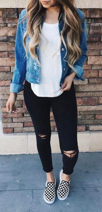 Moda joven Mujer Pantalones Vaqueros y Camisa