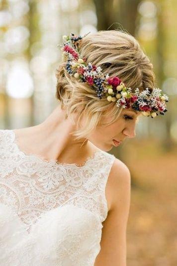 Tocados para Novias de Pelo Corto Diadema de Flores
