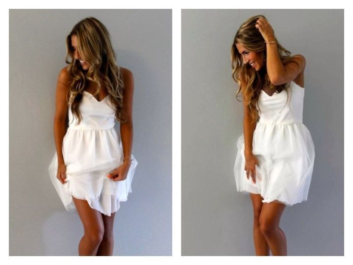 Estilo de pelo largo alegre para vestidos de novia cortos