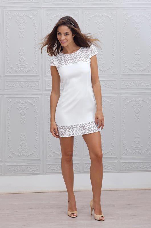 Estilo de pelo largo movimiento para vestidos de novia cortos