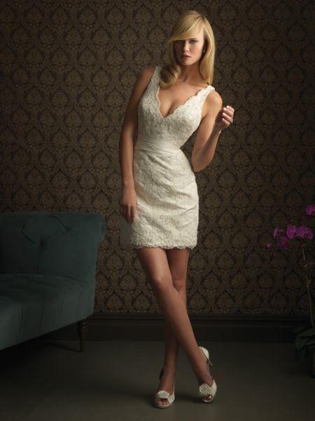Estilo de pelo largo vintage para vestidos de novia cortos